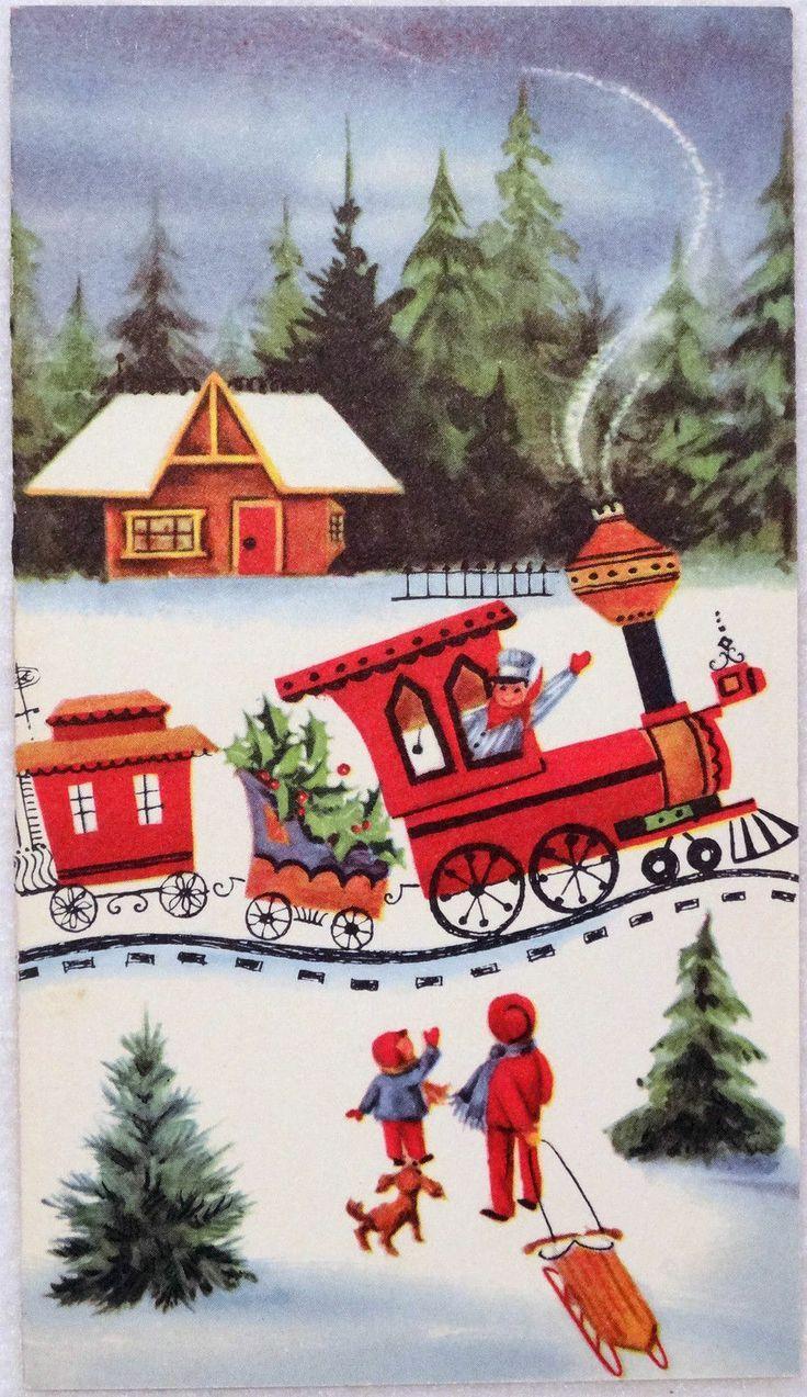 2d54a0b0dbd125f9fdab8497bf2916df christmas greeting cards 633 unused railroad train at the station vintage christmas greeting card kristyandbryce Choice Image