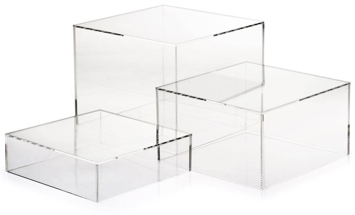 Clear Acrylic Cube Risers With Hollow Bottoms, Set Of 3   Transparent