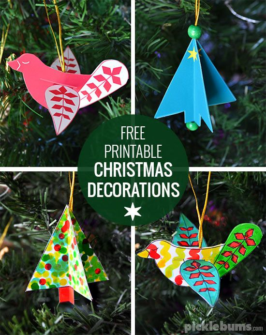 Free Printable Christmas Decorations Dove And Tree Picklebums Free Christmas Printables Printable Christmas Decorations Xmas Crafts