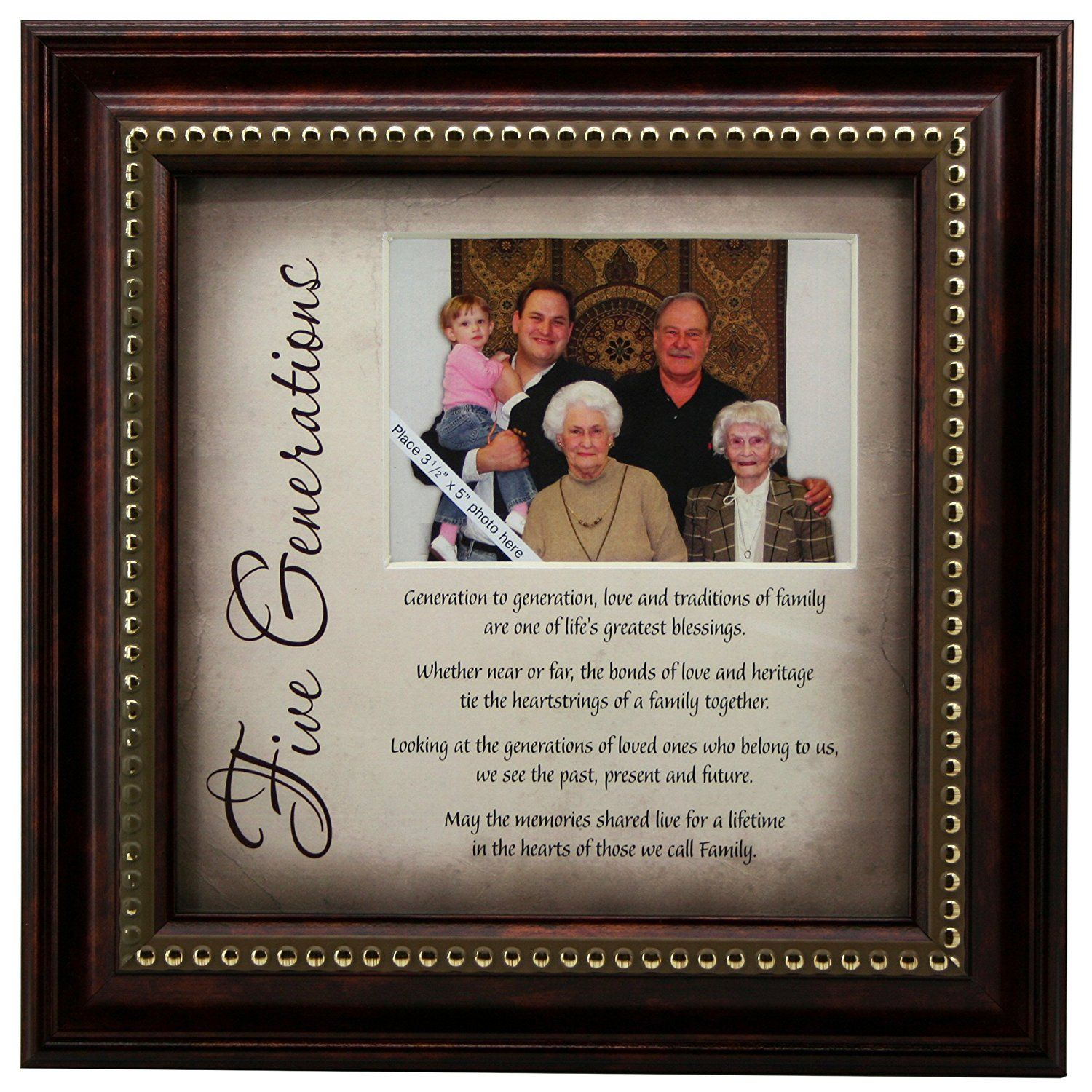5 Generations Frame And Poem  Gift For Great Grandparents