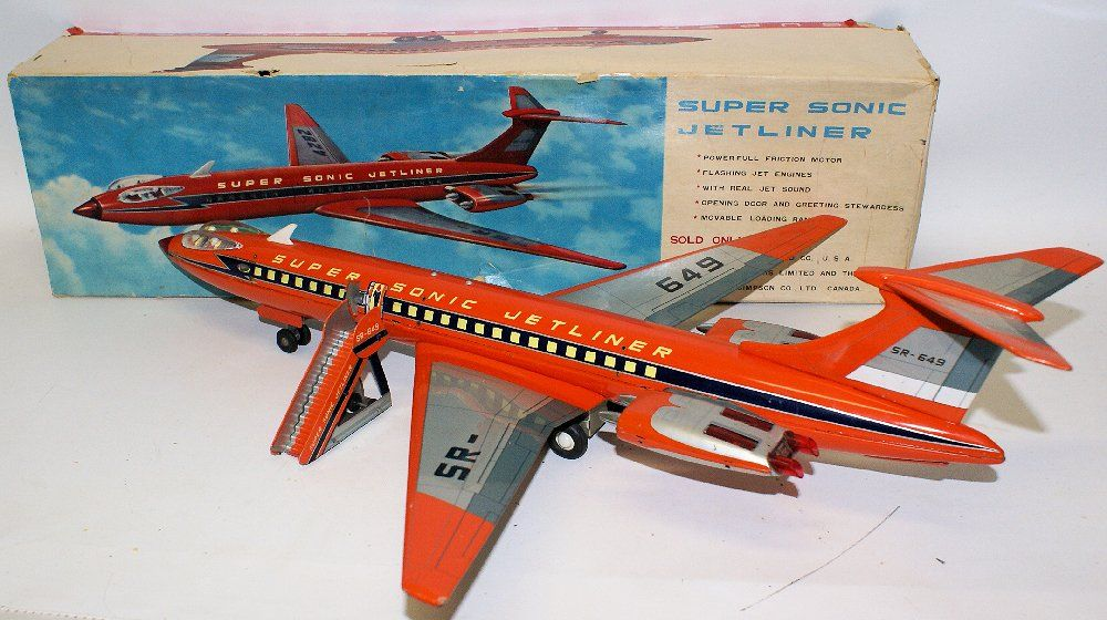 set of 2 vintage 1960s made in Japan tin airplanes