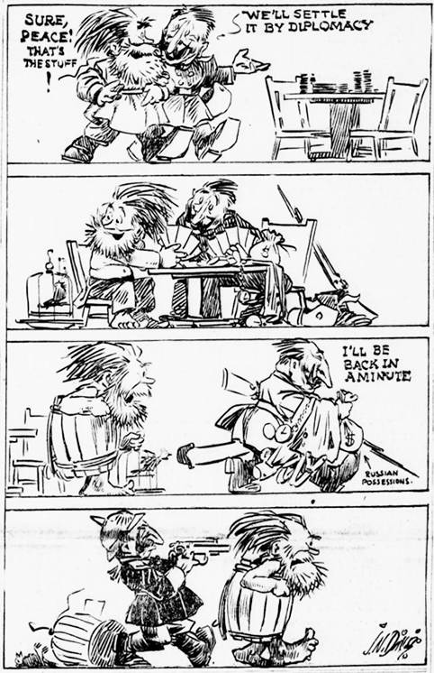 "Russia in Revolution on Twitter: ""Nov 28th 1917: ""Russia-Germany peace negotiations"" (US cartoon). https://t.co/UIIh4oPCc5"""