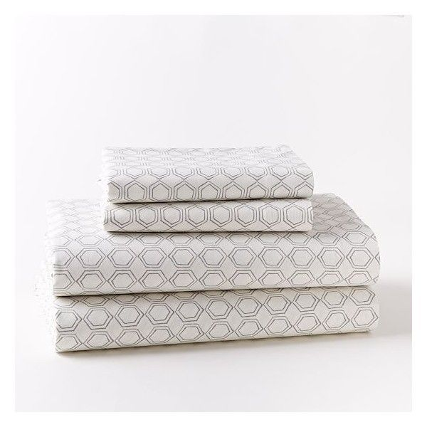 Marvelous West Elm Organic Double Geo Sheet Set ($60) ❤ Liked On Polyvore Featuring  Home, Bed U0026 Bath, Bedding, Bed Sheets, Grey, Extra Long Twin Fitted Sheetu2026