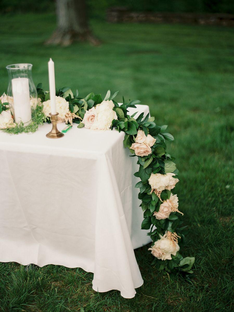 DIY Fresh Floral Garland Romantic wedding centerpieces