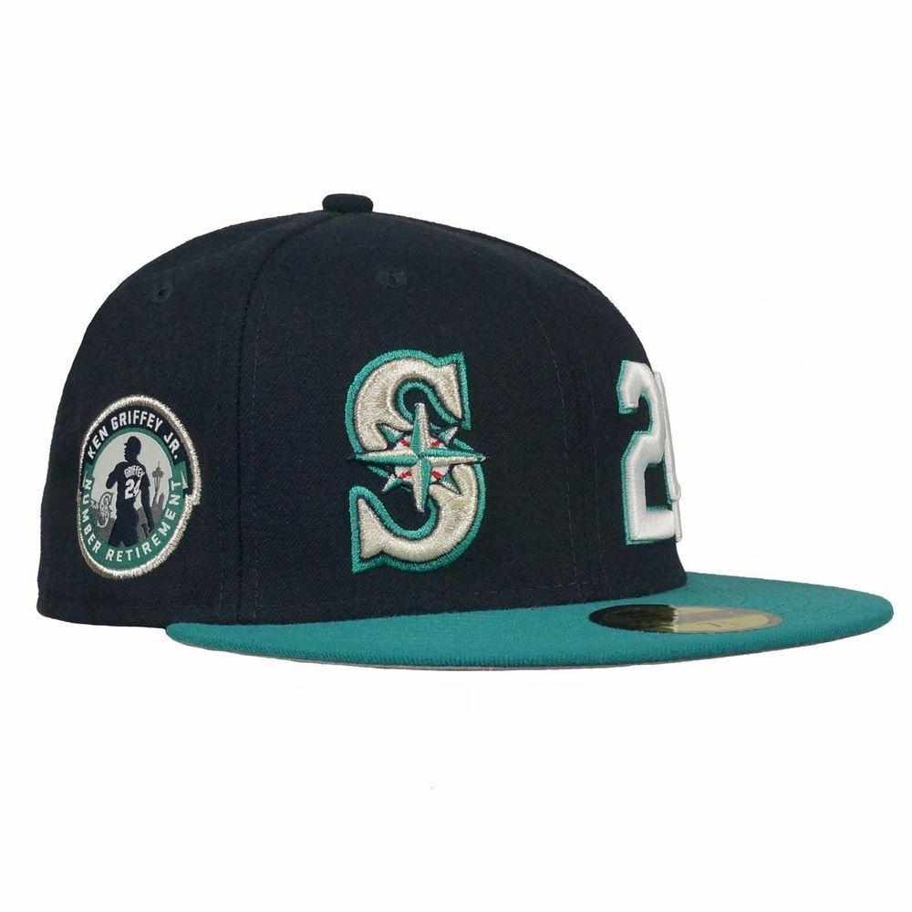 super popular c6232 bcee7 Men s New Era MLB Seattle Mariners GRIFFEY JR 24 RETIREMENT HAT 59FITTY Cap   NewEra  SeattleMariners