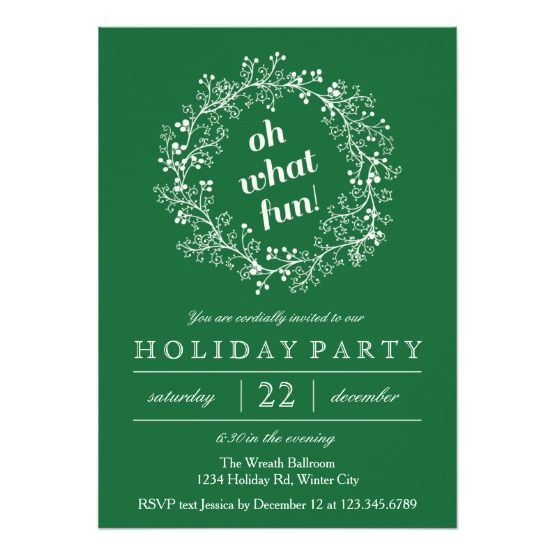 elegant christmas wreath holiday party announcements christmas