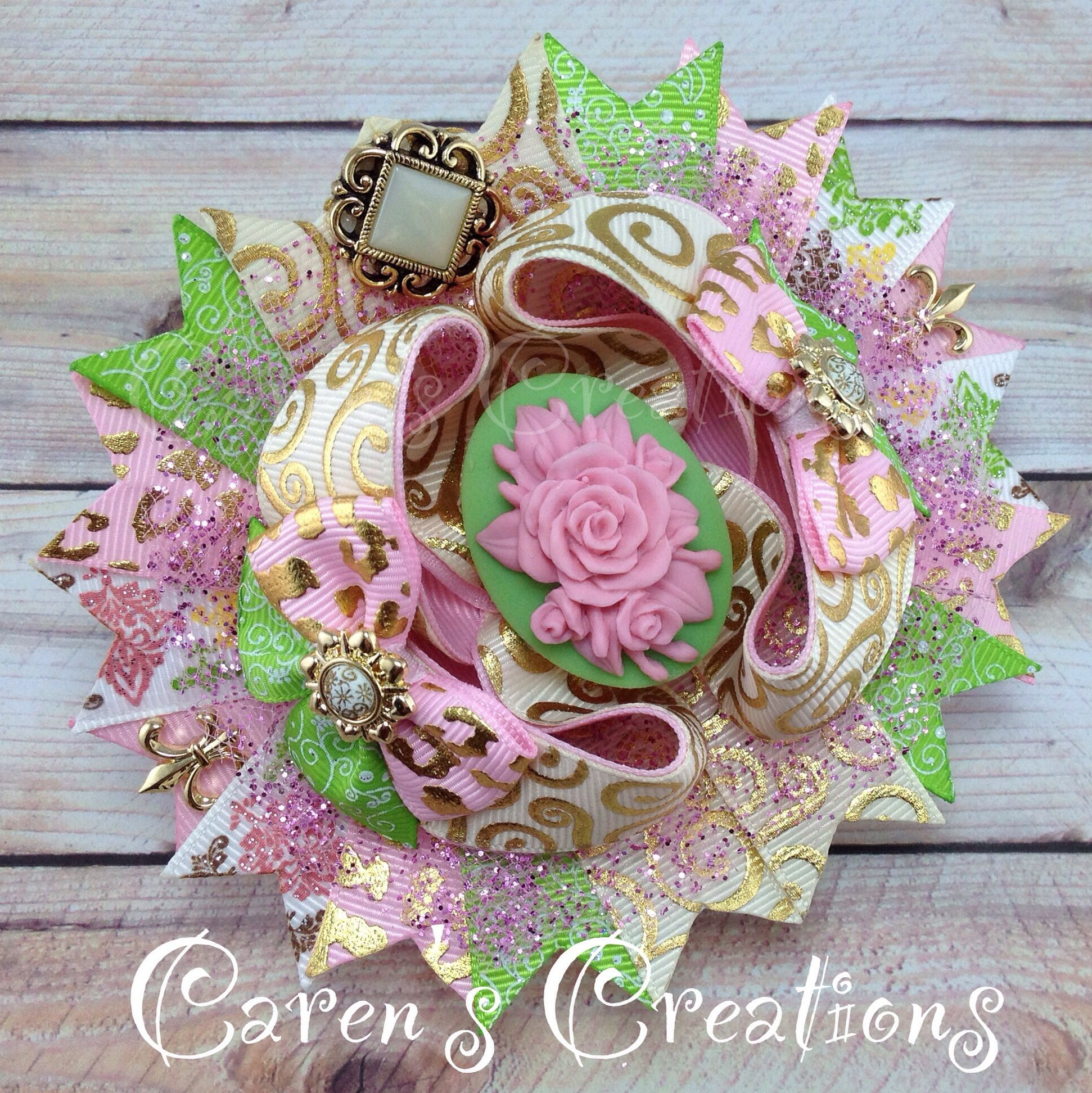 Vintage cameo flowers hair bow, bow, over the top, stacked boutique bow, girl's accessories, grandma's attic