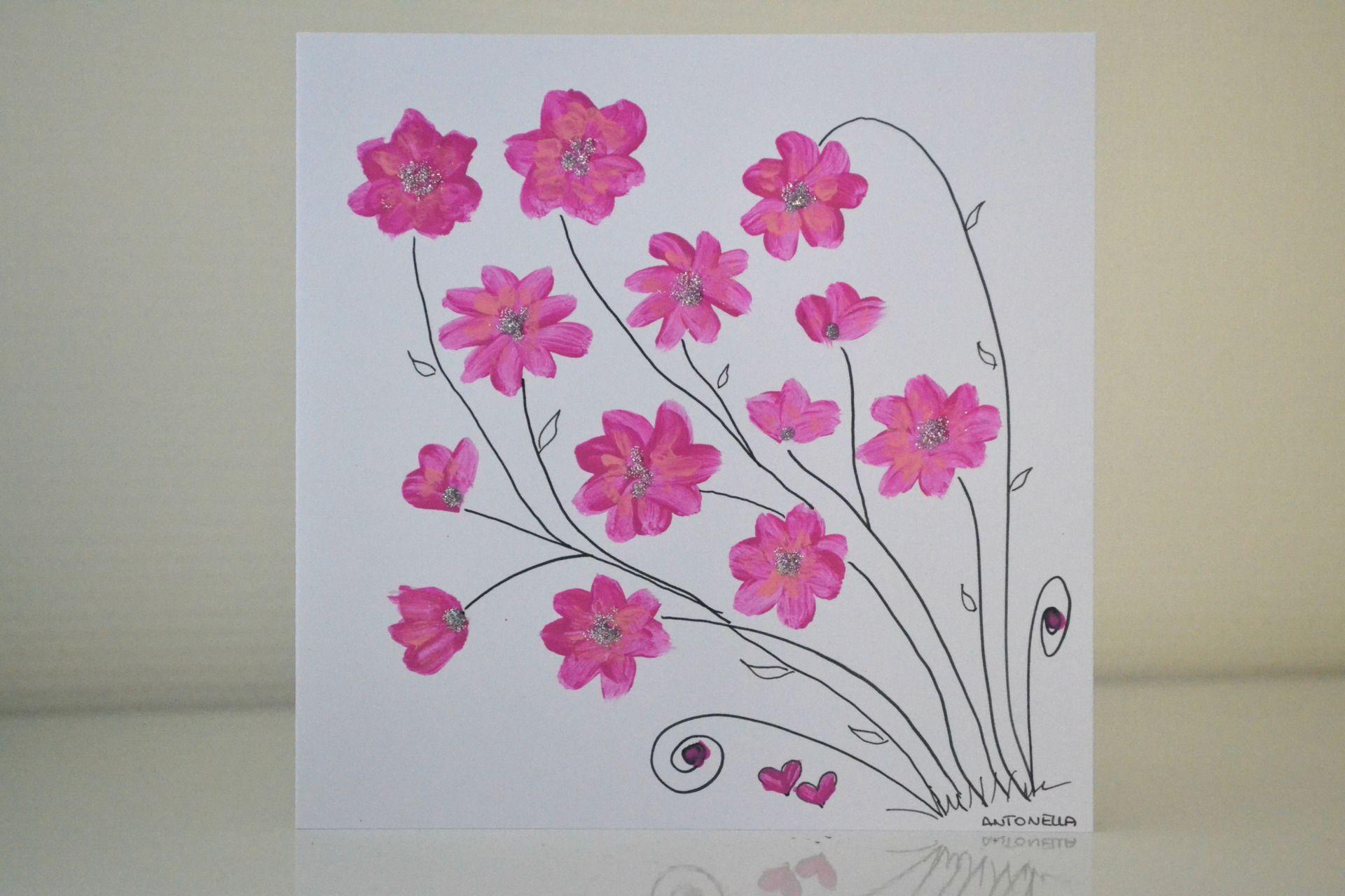 carte st valentin romantique carte fleurs style boh me. Black Bedroom Furniture Sets. Home Design Ideas