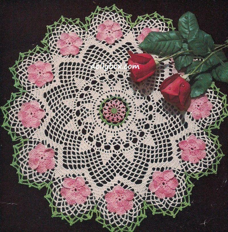 Crochet Rose Doily Patterns