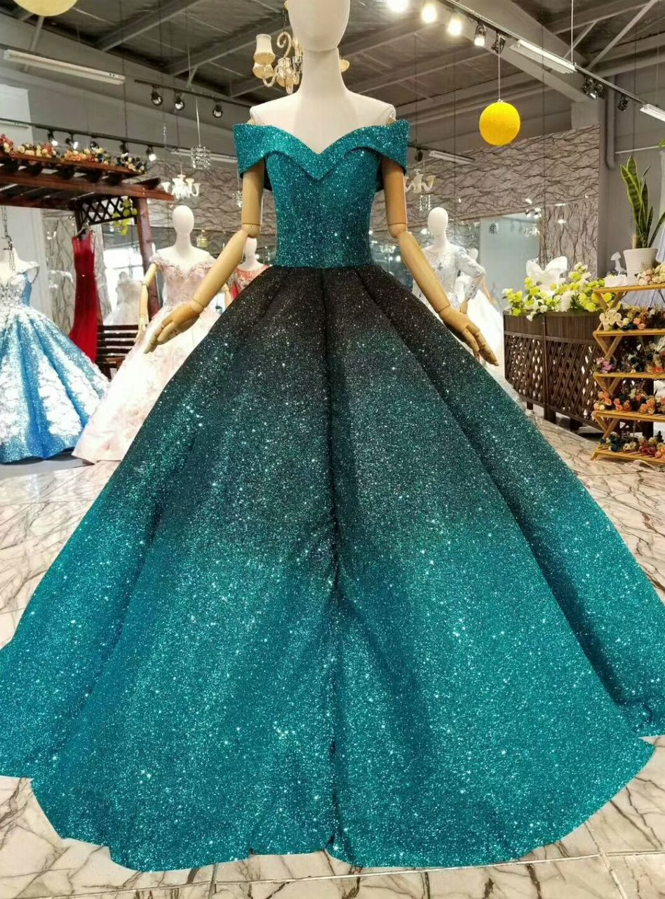 Blue ball gown sequins off the shoulder floor length