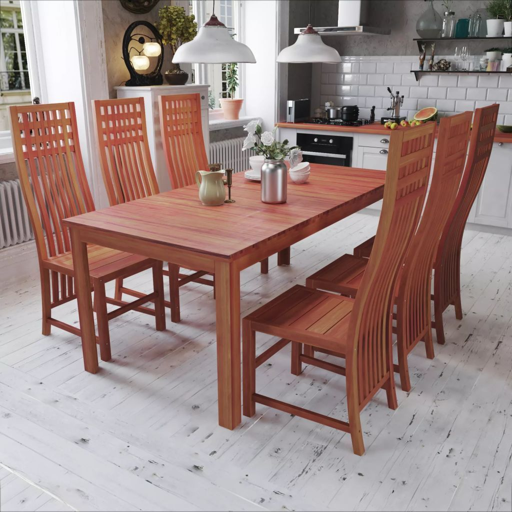 H4home Rustic Dining Table Set With 6 Chairs Solid Teak