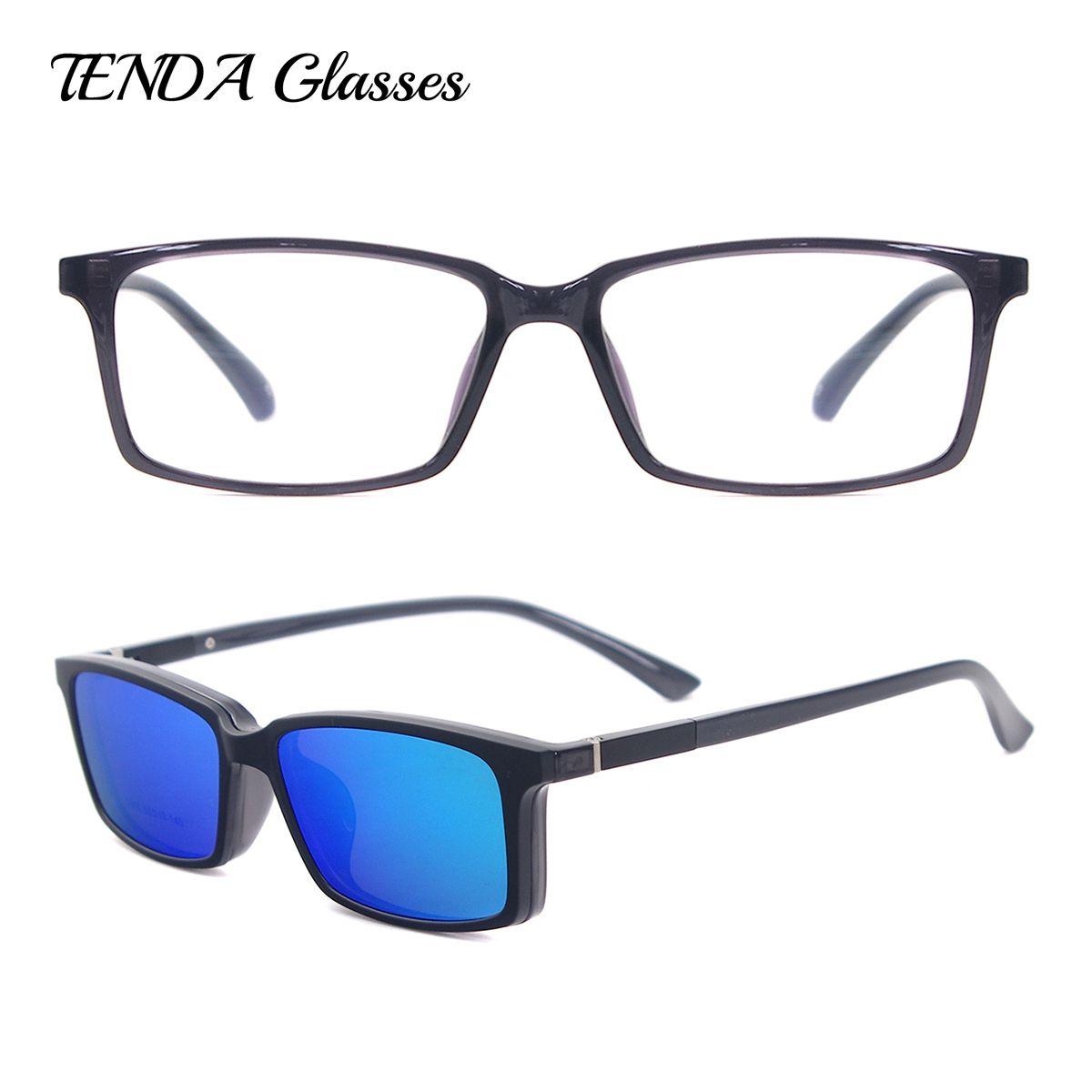 afbc00488 TendaGlasses Lightweight Flexible Rectangular TR90 Men Women Prescription  Eyeglass Frame with Polarized Clip On Sunglasses Review