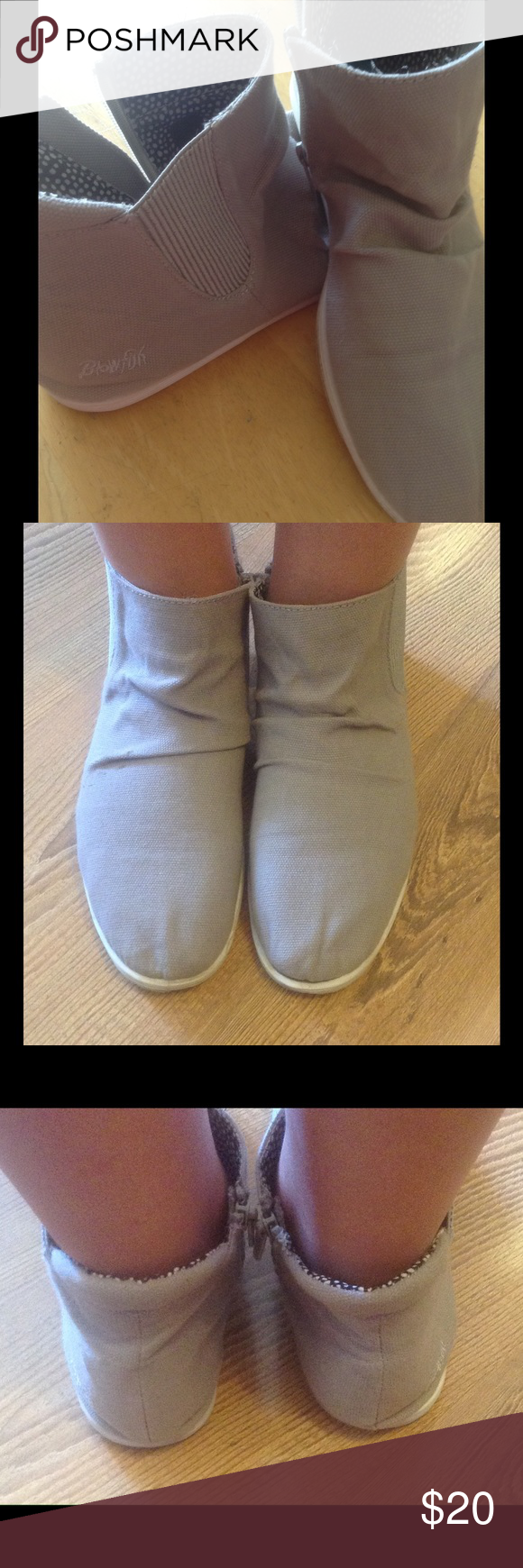 Blowfish ankle boots Grey Blowfish ankle boots.  Zipper on one side, elastic on the other side.  Super cute shoes.  Canvas material.  Only worn a couple of times.  In great condition. Blowfish Shoes Ankle Boots & Booties