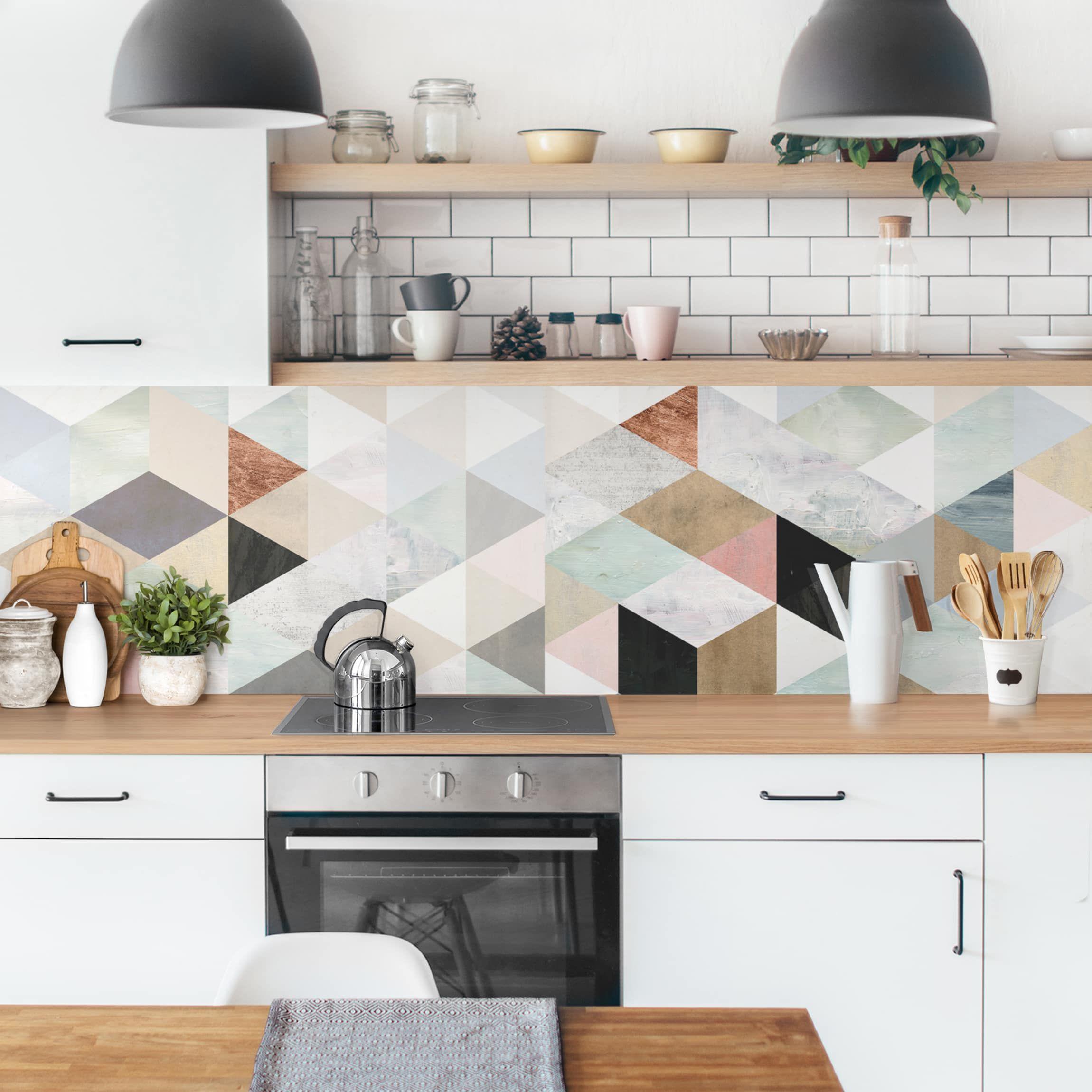 Kuchenruckwand Aquarell Mosaik Mit Dreiecken I Kuchenruckwandfolie Wandfliesen Kuche Fliesenaufkleber Kuche Kuchen Ruckwand