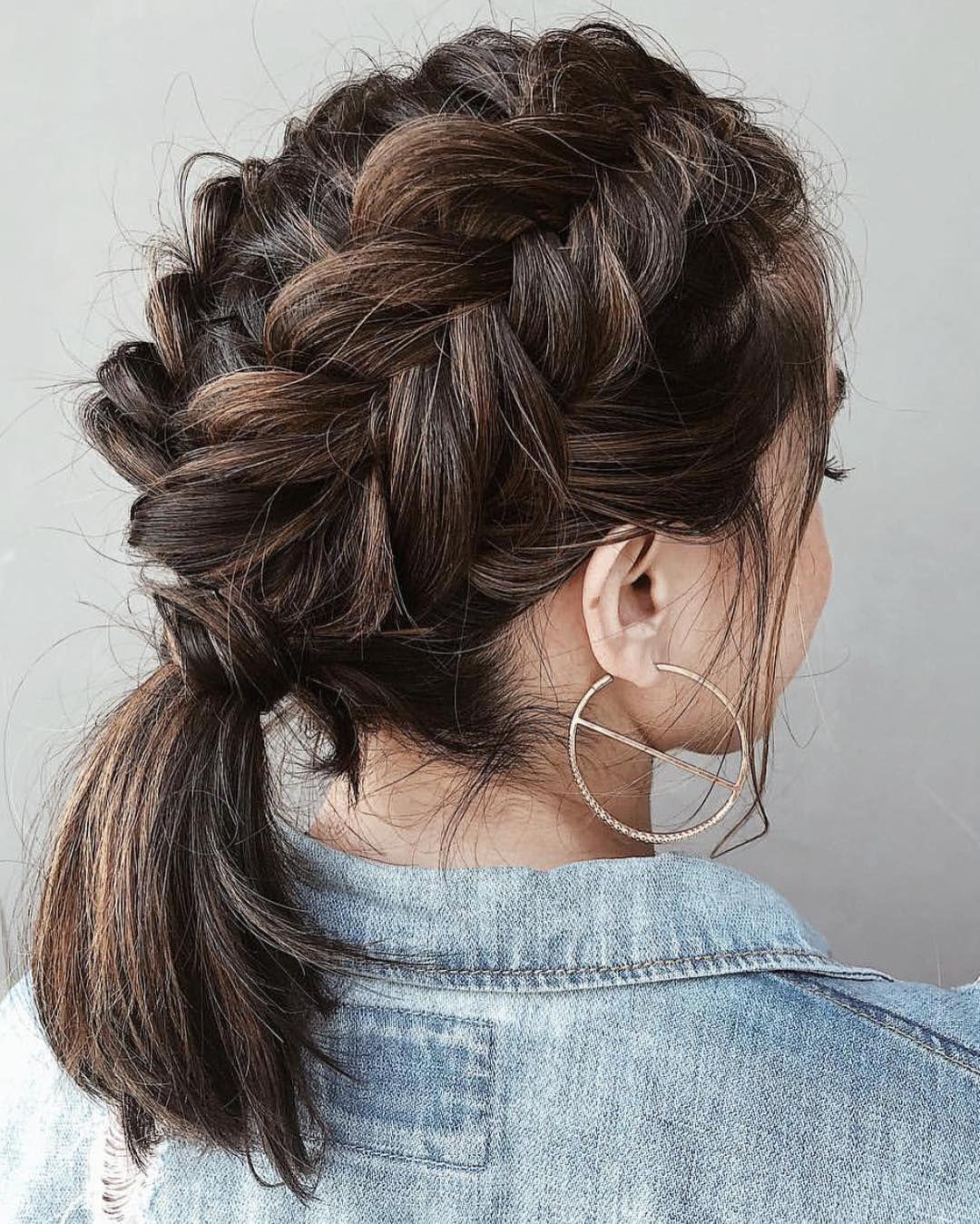 Shorthairstyles Shorthair Hairstyles Braidedhairstyles French Braid Short Hair Elegant Ponytail Braids For Short Hair