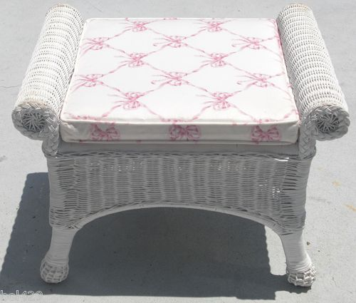 #VINTAGE OTTOMAN $99.95 White Wicker Can Be Used As A Vanity Stool Or Bench