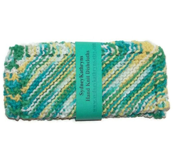 Shades of Turrquoise Hand Knit Dish Cloths by SydneyKathryns