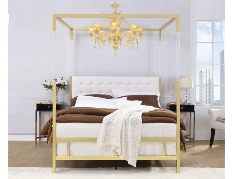 Jasper Gold Metal Canopy Bed Metal canopy bed, Queen