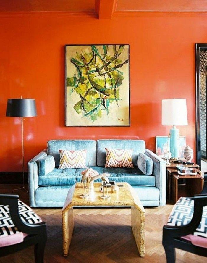 Wandbilder Wohnzimmer Cooler Couchtisch Orange Akzentwand Beleuchtung Ideen