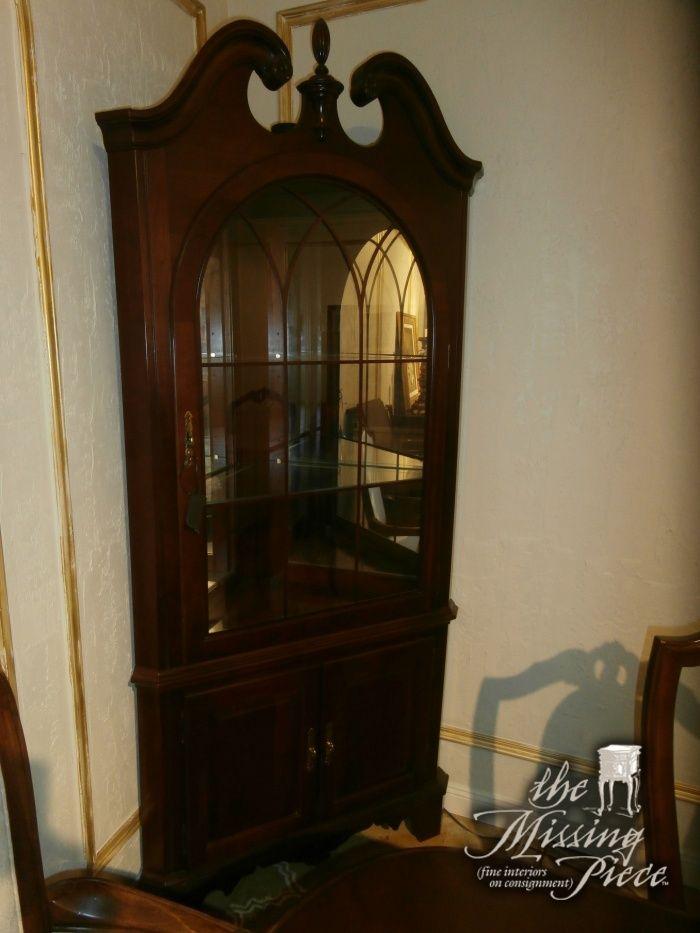 Jasper Corner Curio Cabinet In Dark Cherry With Domed, Glass Pane Window.  Measures 38*19*85.
