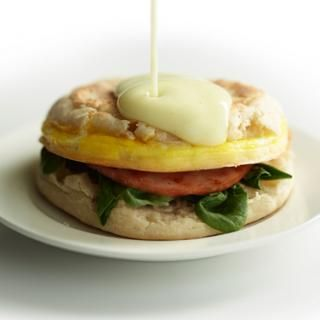 Eggs Benedict Breakfast Sandwich with Hollandaise Sauce