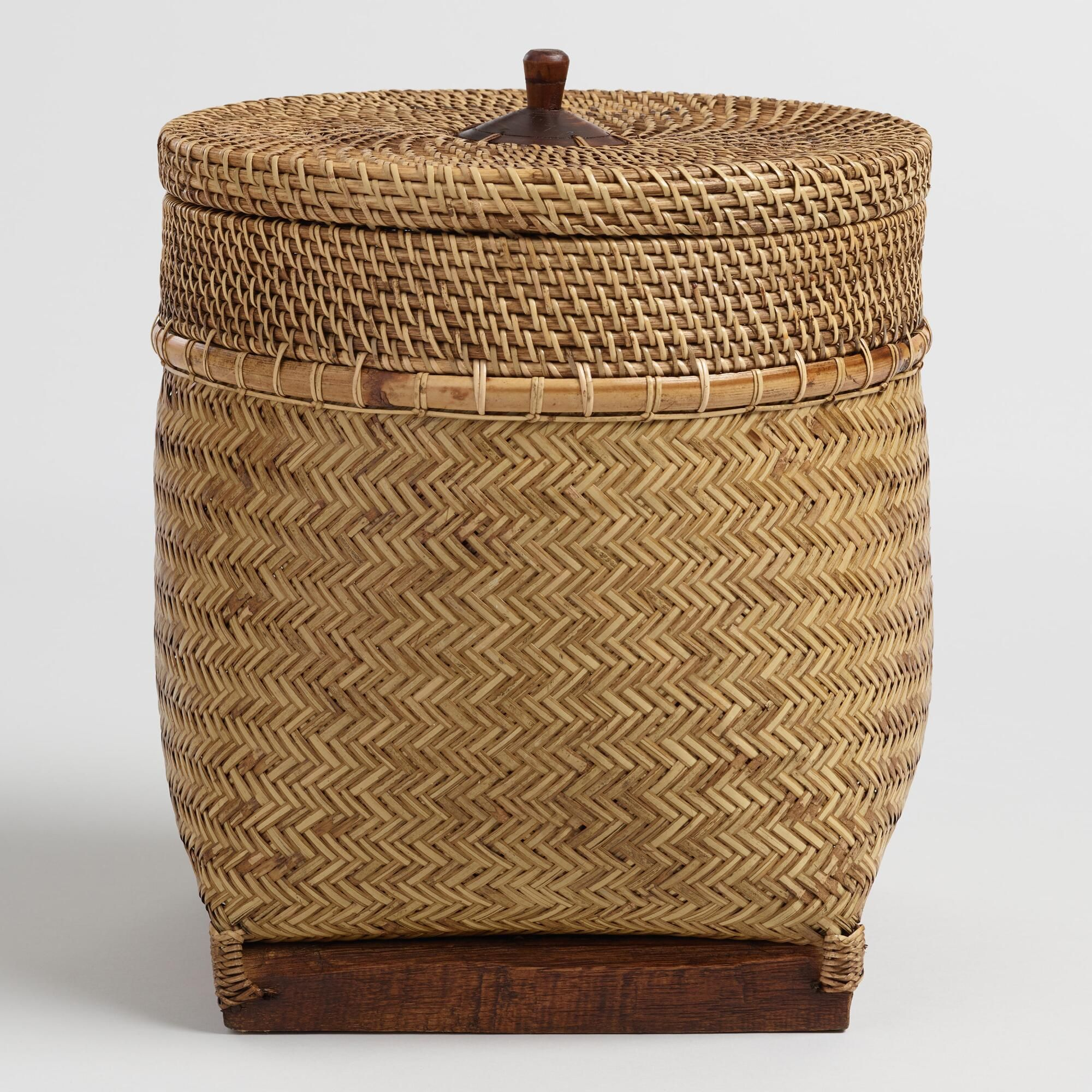 Rattan And Bamboo Square Bottom Lombok Basket With Lid By World