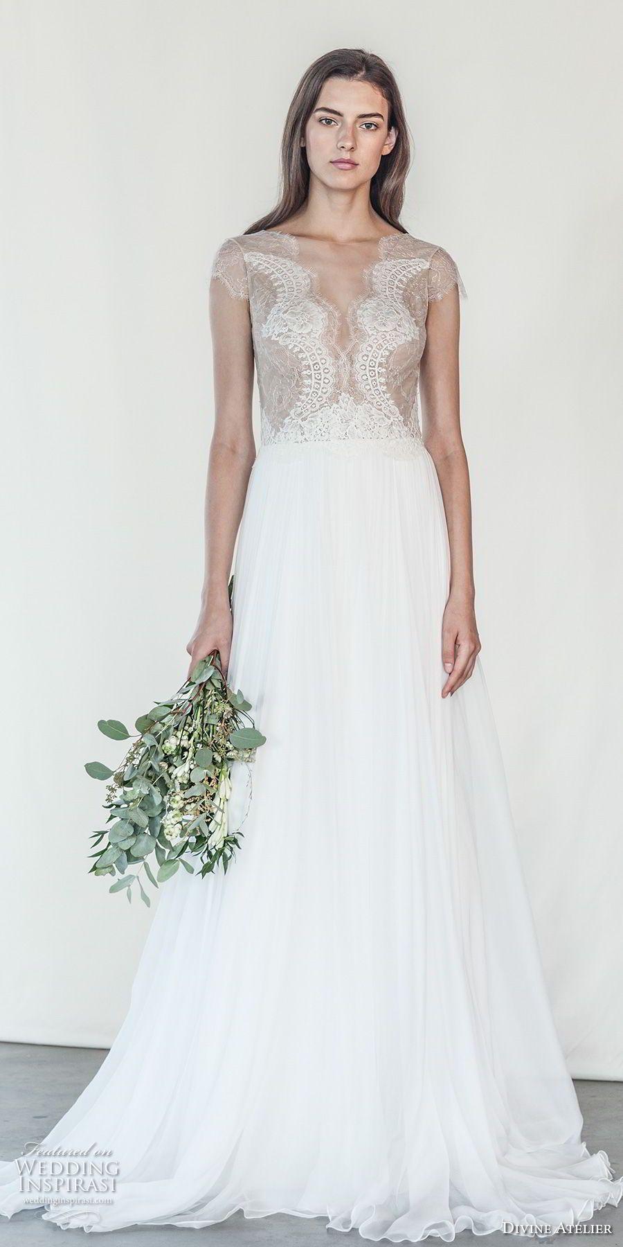 Divine atelier bridal cap sleeves deep v neck heavily
