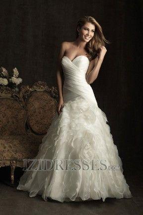 A-line Strapless Sweetheart Organza Luxury Wedding Dresses at IZIDRESSES.com
