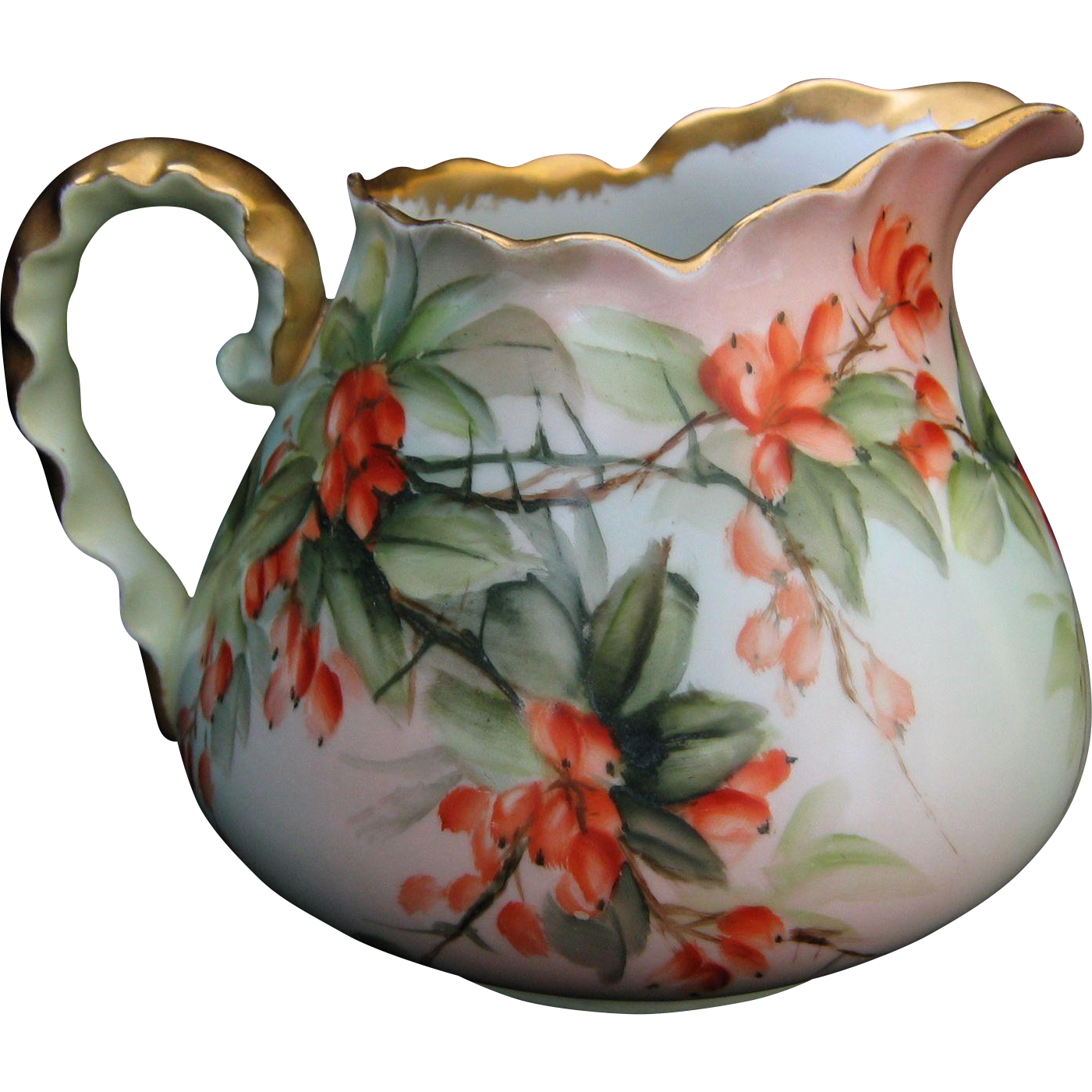 Hand Painted Porcelain Cider Pitcher Artist Signed E Miler With