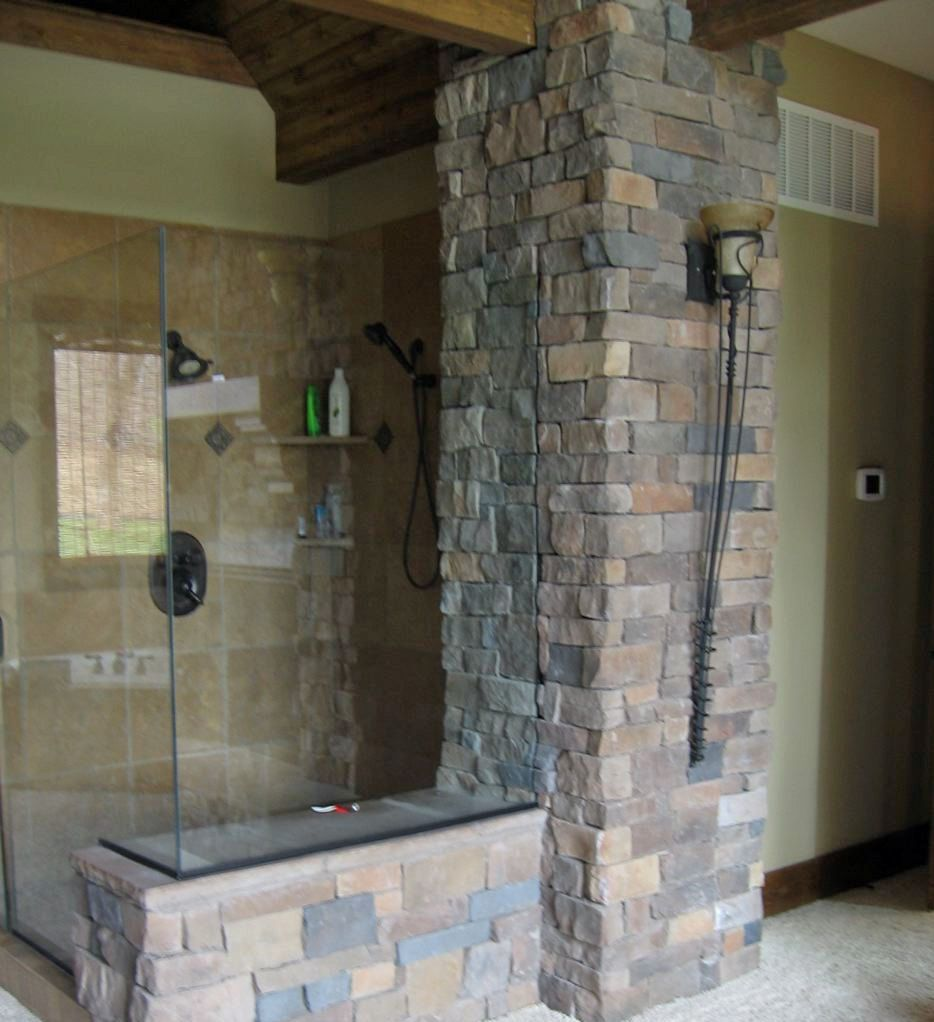 Bathroom:Stunning Bathroom Design With Stone Wall And Shower Counter Idea  Choosing The Wonderful Natural