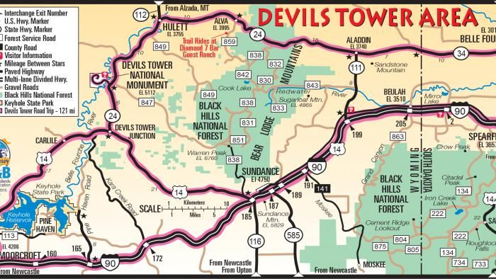 Devils Tower Map   Vacation plans
