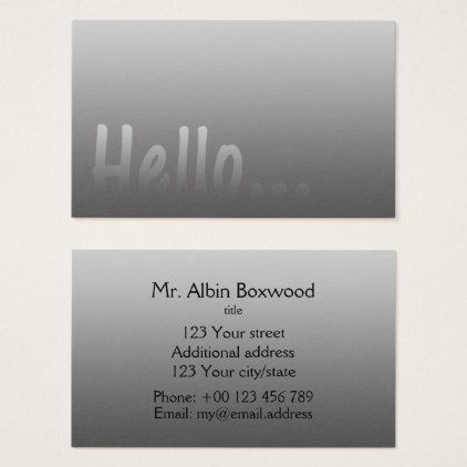 Simple hello gradient one color silver with custom text business simple hello gradient one color silver with custom text business card reheart Image collections