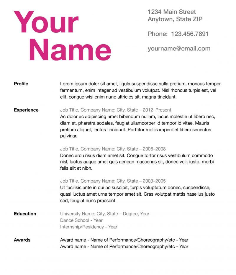 How to Create a #Fierce and Effective Dance Resume Competitive