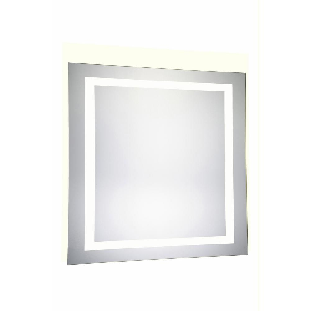 Klein 36 In X 36 In 4 Sides Led Wall Mirror With Rectangle Steel Frame Color Temperature 5000k In Glossy White Hdemir 12060 Mirror Led Mirror Wall Mounted Mirror