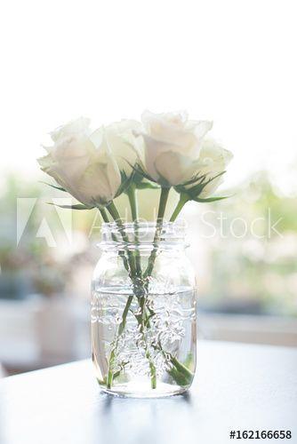 Blumenarrangement, weiße Rosen im Einmachglas, minimalistisch in ...