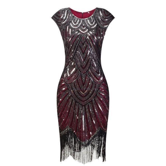 Vintage 1920s Great Gatsby Sequin Fringe Party Dress  712e052d53b1
