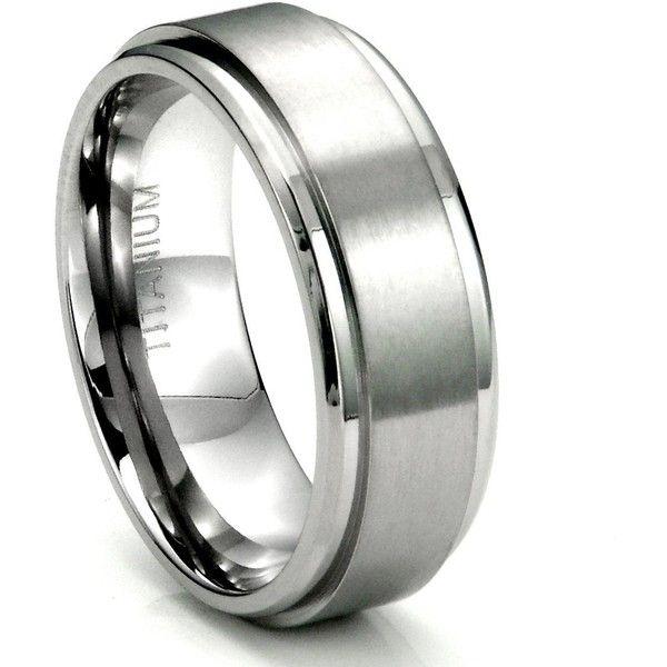 Men's Titanium 8MM Flat High Polish/Brush Finish Wedding Band Ring w/... ($2.99) ❤ liked on Polyvore featuring men's fashion, men's jewelry, men's rings, titanium mens rings, mens watches jewelry, mens rings, mens diamond band wedding ring and mens titanium wedding rings