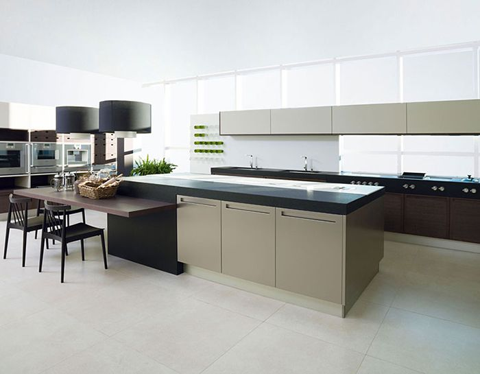 Kitchen g480 arcilla matte and g720 roble brezo with acero antihuellas porcelanosa floor - Keuken porcelanosa ...