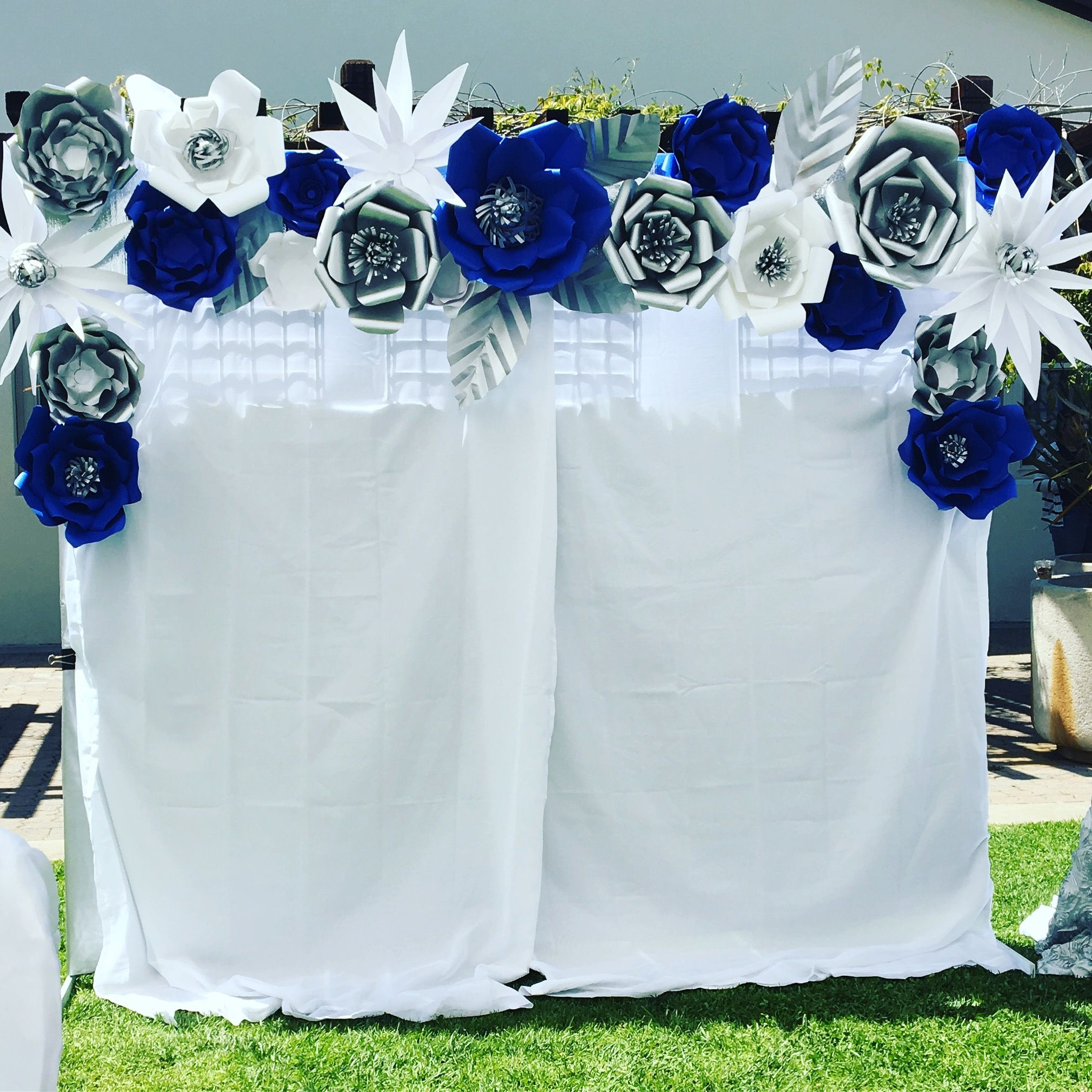 Photo booth royal blue silver and white wedding decor paper photo booth royal blue silver and white wedding decor paper flowers backdrop dhlflorist Gallery