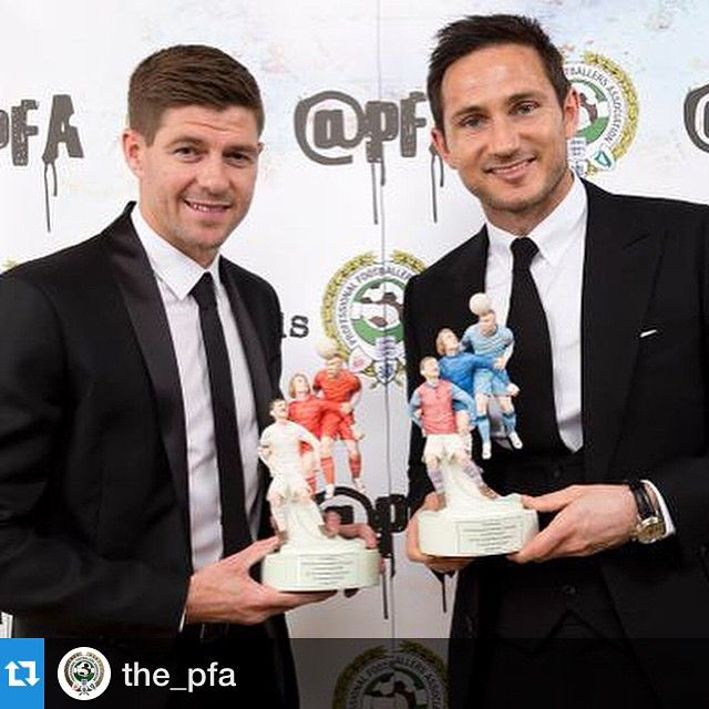 #Repost @the_pfa: #LFC captain @stevengerrard was presented with a special merit award at the #PFAawards this evening.