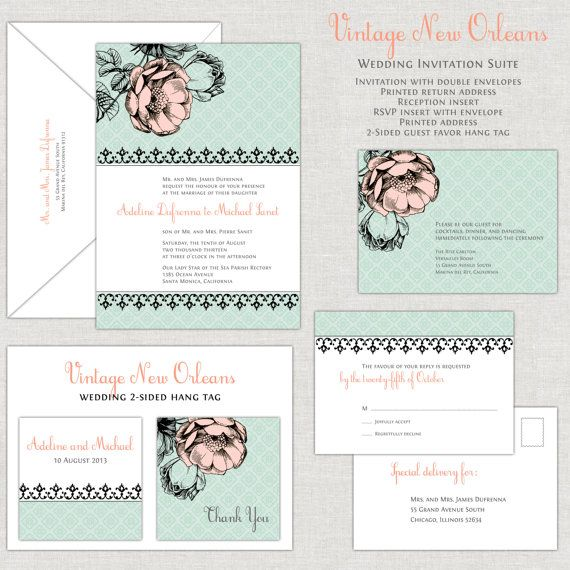 Vintage New Orleans Wedding Invitation Suite in Mint Green Peach
