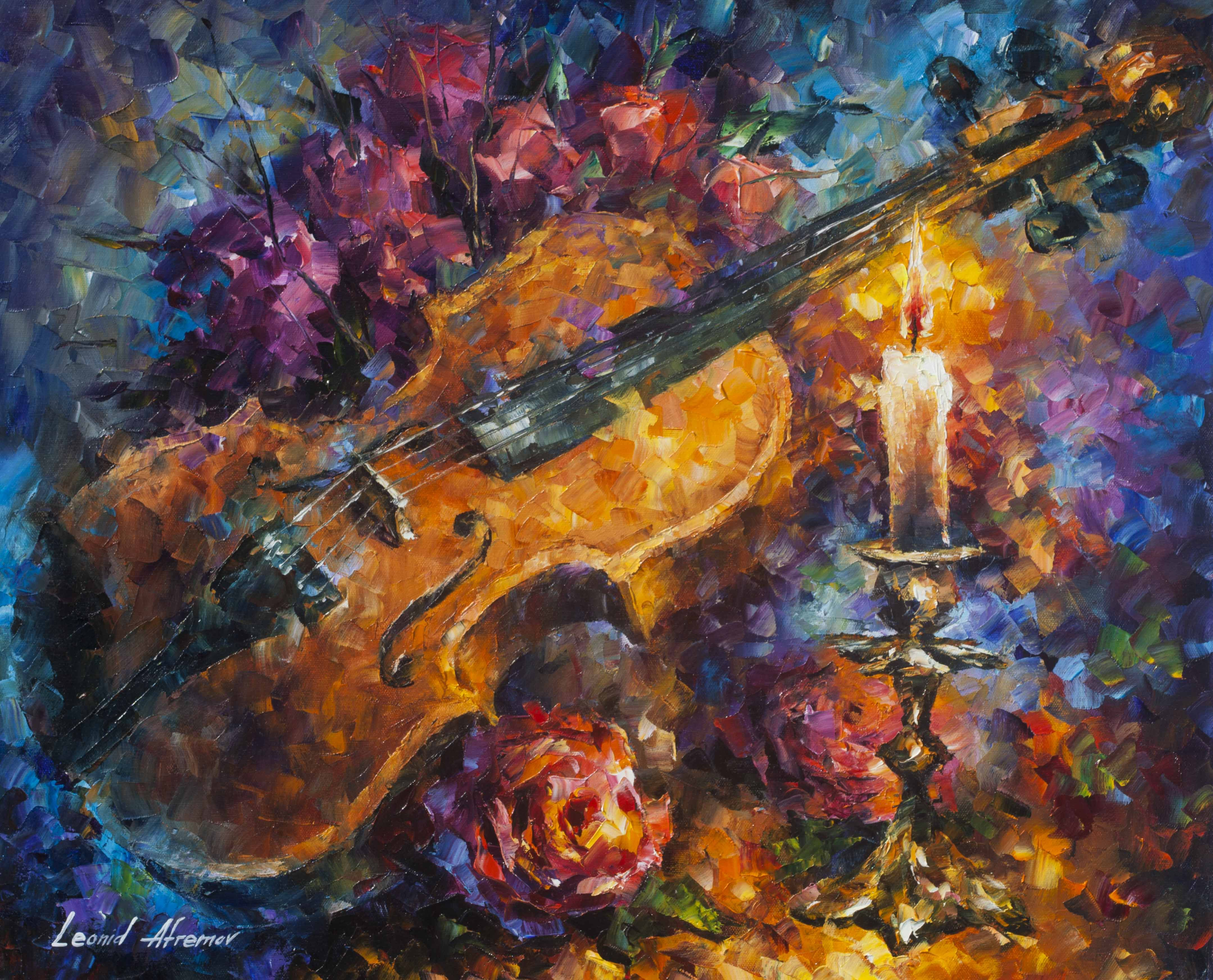 MOZZART'S VIOLIN — PALETTE KNIFE Oil Painting On Canvas in