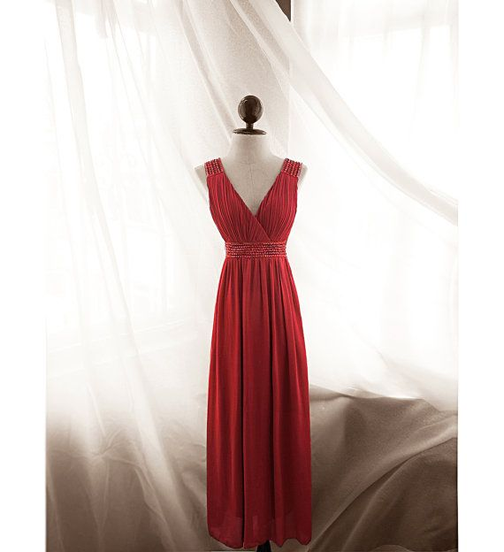 Elven Lord of the Rings Great Gatsby Passion Spanish Red Gown Victorian Queen Crystal Gem Medieval Grecian Pleated Empire Cut Chiffon Dress