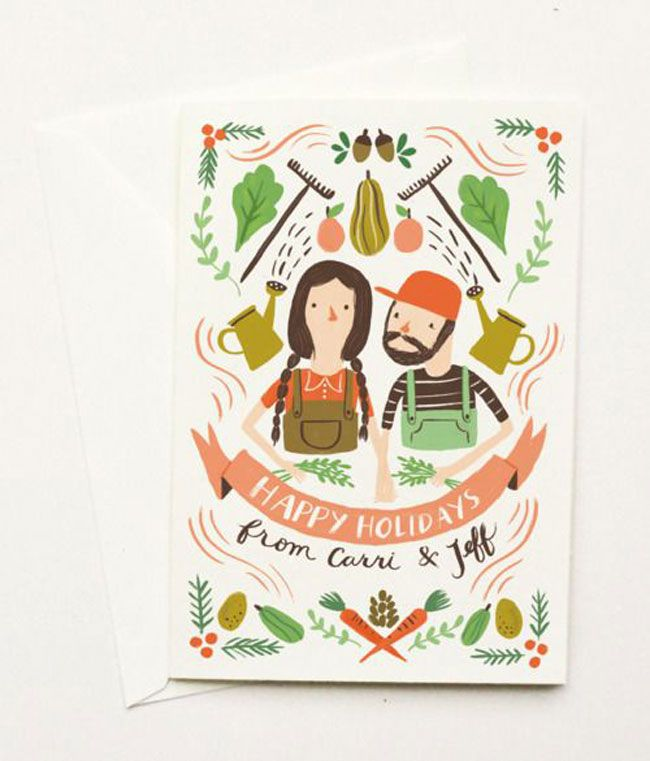 Holiday card hand lettered Quill and Fox
