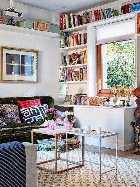 Una biblioteca en el salón | Pinterest | Buenas ideas, Ventana y Libros