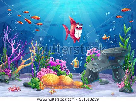 Undersea With Fish Marine Life Landscape The Ocean And The Underwater World With Different Inhabitants For Design Okrashennye Steny Krasochnye Ryby Dekoracii