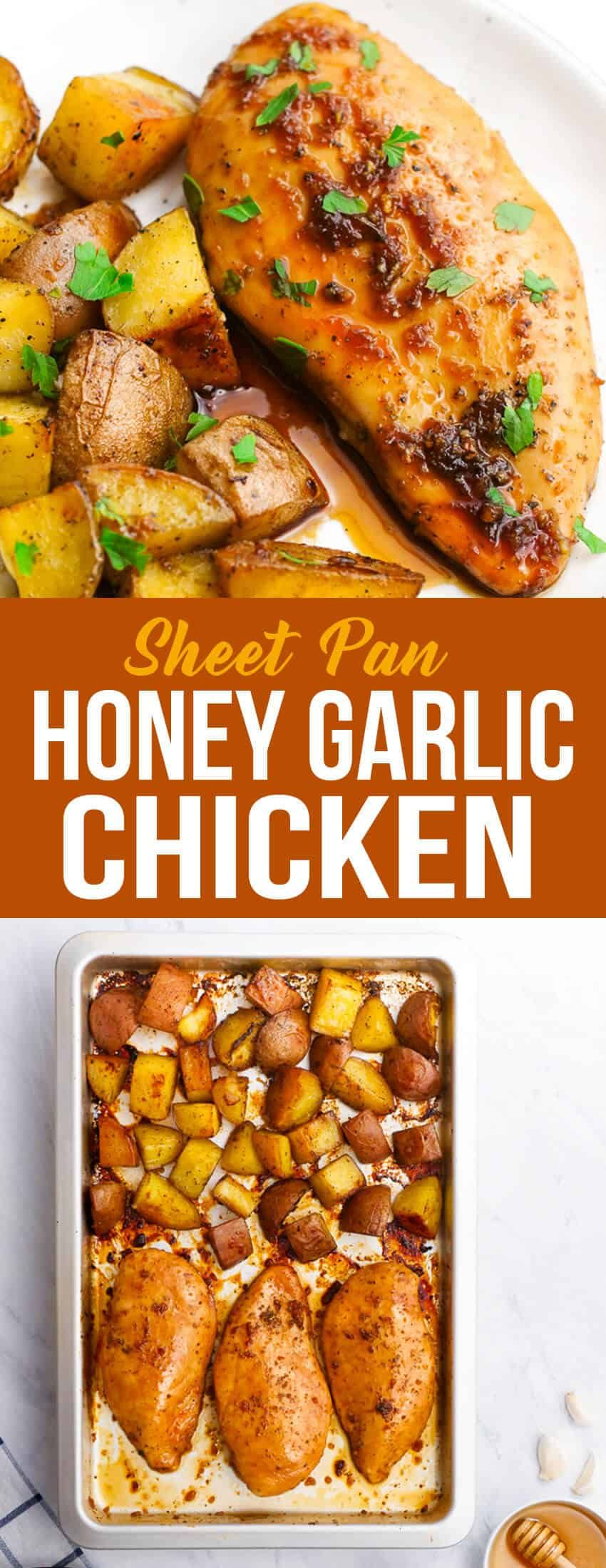This sheet pan honey garlic chicken is a simple dish with tons of flavor. #sheetpandinner #chicken #sheetpanchicken #honeygarlicchicken #honeygarlic