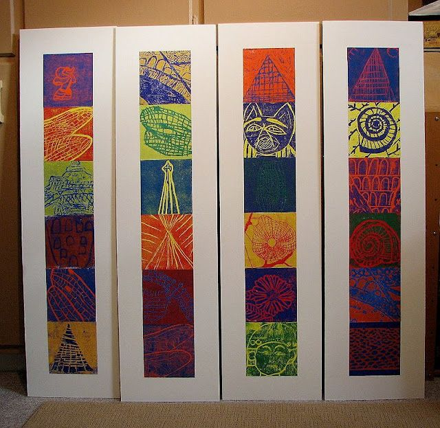 Elementary School printmaking instruction Love the use of two color printing! Must try this!