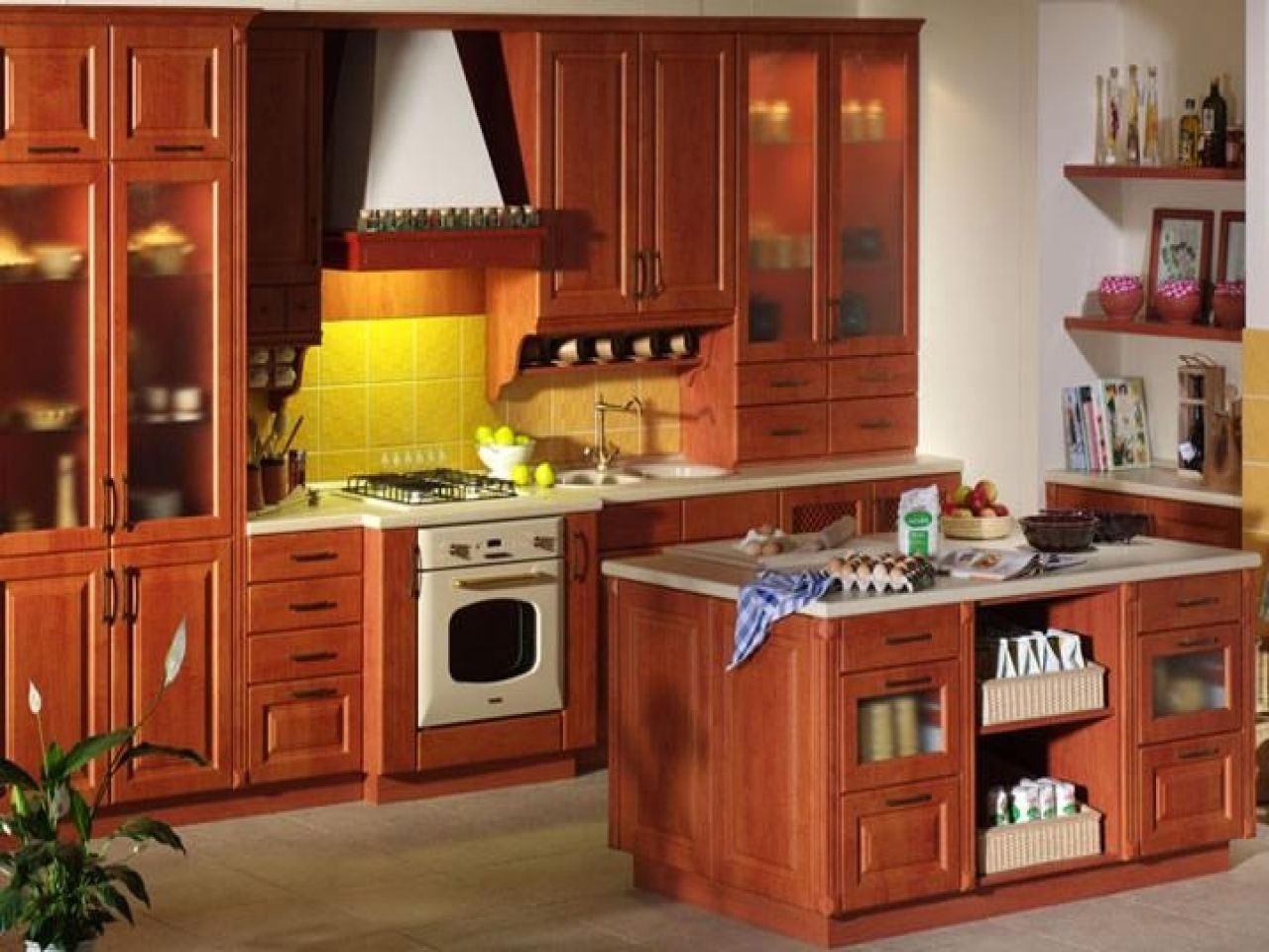 wood kitchen furniture solid wood paneling red beech from ...