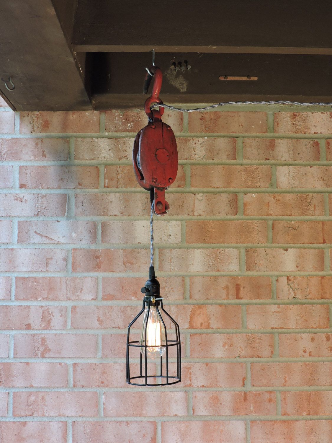 red black white pulley pendant light w vintage iron and wooden